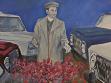 Augustin Lucaci, Na návštěvě v továrně Aro Campulung, 1989, olej na plátně, repro: Florin Tudor
